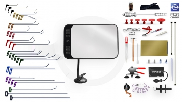Фото Максимальный набор с мобильной LED лампой (30 крючков, 4 насадки, 16 аксессуаров, клеевая система, мобильная лампа)