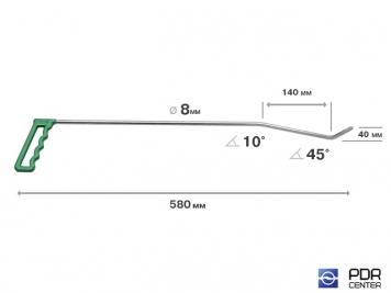 Фото Правый угловой (длина 58 см, угол загиба 45º, Ø 8 мм)