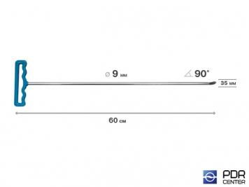 Фото Крючок со стандартным загибом под насадки A35 и A36 (длина 60 см,  угол загиба 90º, длина загиба 35 мм, Ø 9 мм)