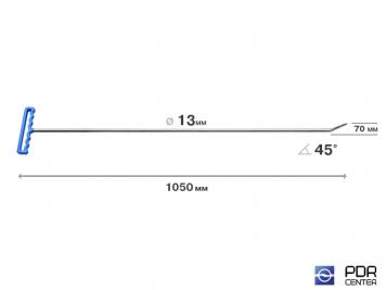 Фото Крючок со стандартным загибом, закруглённый (длина 105 см, длина загиба 7 см, угол загиба 45°, Ø 13 мм)