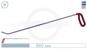 Фото Крючок правый угловой, плоский (длина 66 см, угол загиба 45º, длина загиба 45 мм, Ø 8 мм)
