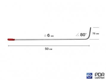 Фото Крючок со стандартным загибом, плоский (длина 50 см,  угол загиба 80º, длина загиба 75 мм, Ø 6 мм)