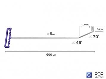 Фото Крючок с двойным загибом, плоский (длина 60 см, длина 1 загиба 10 см, длина 2 загиба 6 см, угол загиба 115°, Ø 9 мм)