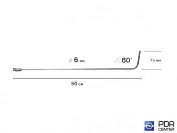 Фото Крючок со стандартным загибом, плоский, без ручки (длина 50 см,  угол загиба 80º, длина загиба 75 мм, Ø 6 мм)