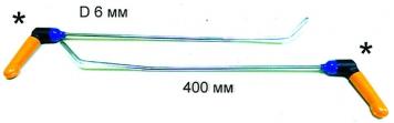 Фото Крючки с поворотной ручкой для работы в полостях PR Bras-2 Platinum Длина 50 см, длина первого загиба 15 см, угол загиба 10º Длина второго загиба 5 см 45º. Ø6 мм.