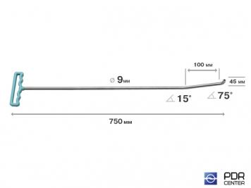 Фото Крючок с двойным загибом для винтовых насадок (длина 75 см, длина 1 загиба 10 см, длина 2 загиба 4,5 см, угол загиба 90*, Ø 9 мм)