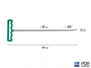 Фото Крючок со стандартным загибом, закруглённый (длина 40 см,  угол загиба 45º, длина загиба 45 мм, Ø 8 мм)