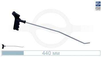 Фото Крючок со стандартным загибом, левый, плоский (длина 44 см,длина первого загиба 14,5 см, угол первого загиба 10º,  длина второго загиба 30 мм, угол второго загиба 45º, Ø 5 мм)
