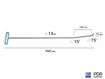 Фото Крючок с двойным загибом для винтовых насадок (длина 90 см, длина 1 загиба 15 см, длина 2 загиба 7,5 см, угол загиба 90º, Ø 13 мм)