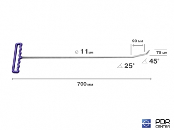 Фото Крючок с двойным загибом, острый (длина 70 см, длина 1 загиба 9 см, длина 2 загиба 3 см, угол загиба 70°, Ø 11 мм)