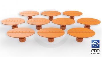 Фото Клеевые грибки овальные, оранжевые (30x50 mm) (комплект из 10-ти штук)
