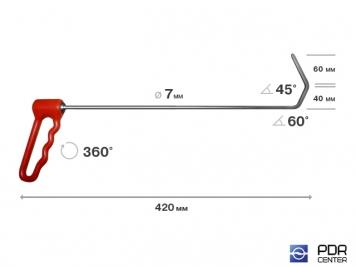 Фото Крючок с поворотной ручкой (КЛЮВ) (Ø 7 мм, длина 435 мм)