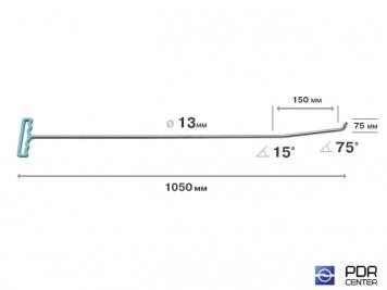 Фото Крючок с двойным загибом для винтовых насадок (длина 105 см, длина 1 загиба 15 см, длина 2 загиба 7,5 см, угол загиба 90º, Ø 13 мм)