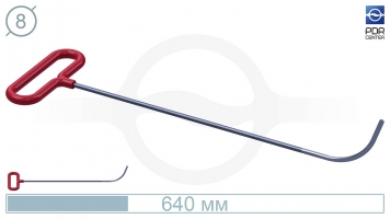 Фото Крючок с круговым загибом, плоский кончик (длина 64 см, длина загиба 100 мм, угол загиба 80º, Ø 8 мм)