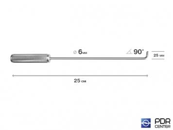 Фото Крючок прямой под насадки A35 и A36  (длина 25 см,  угол загиба 90º, длина загиба 25 мм, Ø 6 мм)