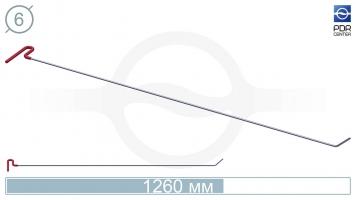 Фото Крючок со стандартным загибом, плоский (длина 126 см, угол загиба 45º, длина загиба 65 мм, Ø 6 мм)