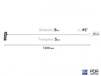 Фото Крючок с наконечником-лезвием (длина 120 см, ширина 9 мм, толщина 5 мм, длина загиба 3,8 см, угол загиба 45º)