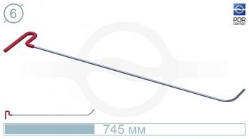 Фото Крючок с загибом 75º, закруглённый, плоский (длина 68 см, угол загиба 75º, длина загиба 63 мм, Ø 6 мм)
