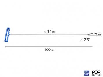 Фото Крючок со стандартным загибом, закруглённый (длина 90 см, длина загиба 7 см, угол загиба 75°, Ø 11 мм)