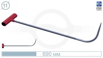 Фото Крючок с круговым загибом, плоский кончик (длина 69 см, угол загиба 75º, Ø 11 мм)