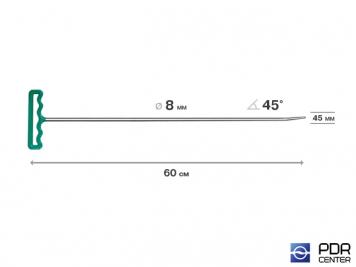 Фото Крючок со стандартным загибом, закруглённый (длина 60 см,  угол загиба 45º, длина загиба 45 мм, Ø 8 мм)