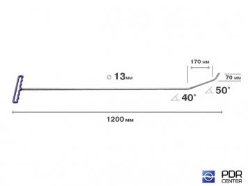 Фото Крючок с двойным загибом, плоский (длина 120 см, длина 1 загиба 17 см, длина 2 загиба 7 см, угол загиба 90°, Ø 13 мм)