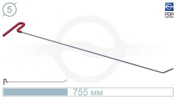 Фото Крючок со стандартным загибом, плоский  (длина 75,5 см, угол загиба 37º, длина загиба 55 мм, Ø 5 мм)