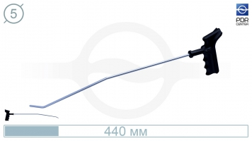 Фото Крючок со стандартным загибом, правый,  плоский (длина 45 см, угол загиба 45º, длина загиба 30 мм, Ø 5 мм)