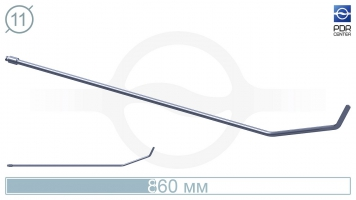 Фото Крючок с двойным загибом, плоский (длина 86 см, длина 1 загиба 17 см, длина 2 загиба 6,5 см, угол загиба 65°, Ø 11 мм, без ручки)