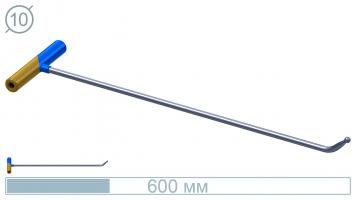 Фото Крючок 10027 Диаметр 10 мм, длина 600 мм, загиб 45 градусов, носик 45 мм, окончание шар 10 мм