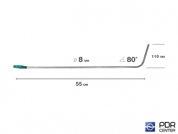 Фото Крючок правый дверной, плоский (длина 55 см,  угол загиба 80º, длина загиба 110 мм, Ø 8 мм)