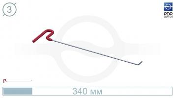 Фото Крючок со стандартным загибом, плоский (длина 30 см, угол загиба 45º, длина загиба 20 мм, Ø 3 мм)