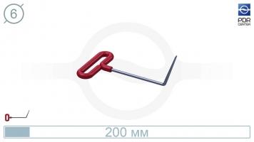 Фото Крючок с загибом 70º, плоский (длина 20 см, угол загиба 70º, длина загиба 75 мм, Ø 6 мм)