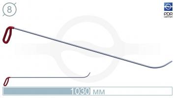 Фото Крючок с круговым загибом, левый, плоский кончик (длина 103 см, длина загиба 95 мм, угол загиба 80º, Ø 8 мм)