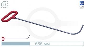 Фото Крючок с круговым загибом, плоский  (длина 68,5 см, угол загиба 80º, длина загиба 115 мм, Ø 9 мм)