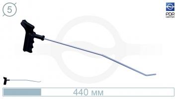 Фото Крючок левый угловой, плоский (длина 40 см, угол загиба 45º, длина загиба 28 мм, Ø 5 мм)