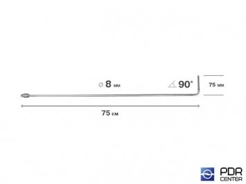 Фото Крючок со стандартным загибом, плоский, без ручки (длина 75 см,  угол загиба 90º, длина загиба 75 мм, Ø 8 мм)