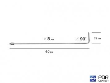 Фото Крючок со стандартным загибом, плоский, без ручки (длина 60 см,  угол загиба 90º, длина загиба 75 мм, Ø 8 мм)