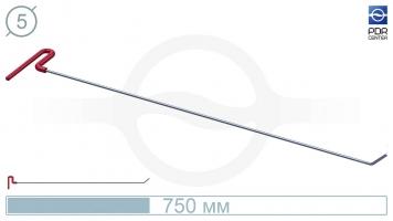 Фото Крючок со стандартным загибом, плоский  (угол загиба 45º, Ø 5 мм)