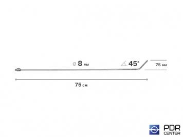Фото Крючок со стандартным загибом, плоский, без ручки (длина 75 см,  угол загиба 45º, длина загиба 75 мм, Ø 8 мм)