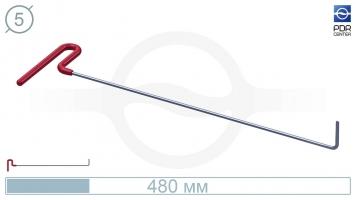 Фото Крючок с загибом 90º, плоский (длина 48 см, угол загиба 90º, длина загиба 45 мм, Ø 5 мм)