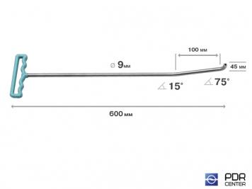 Фото Крючок с двойным загибом для винтовых насадок (длина 60 см, длина 1 загиба 10 см, длина 2 загиба 4,5 см, угол загиба 90º, Ø 9 мм)