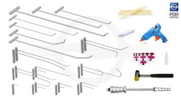 Фото Набор инструментов для удаления вмятин (42 предмета, 26 крючков, клеевая система, комплект для осаживания)