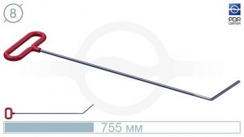 Фото Крючок со стандартным загибом, плоский (длина 75,5 см, длина загиба 130 мм, угол загиба 45º, Ø 8 мм)