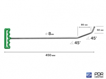 Фото Крюк с большим изгибом (длина 45 см, угол загиба 90º, Ø 8 мм)