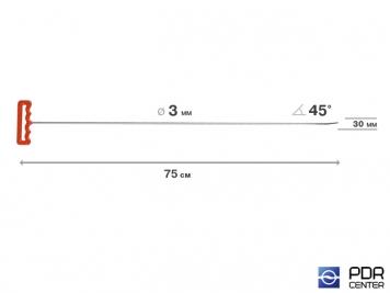 Фото Крючок со стандартным загибом, плоский (длина 75 см,  угол загиба 45º, длина загиба 30 мм, Ø 3 мм)