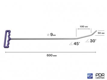 Фото Крючок с двойным загибом, плоский (длина 60 см, длина первого загиба 10 см угол 45°, длина второго загиба 5 см угол загиба 30°, Ø 9 мм)