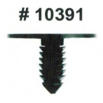 Фото Комплект клипс для автомобилей Chrysler, черные, 50 штук (Ø отверстия 6.3 мм, Ø шляпки 25.4 мм)