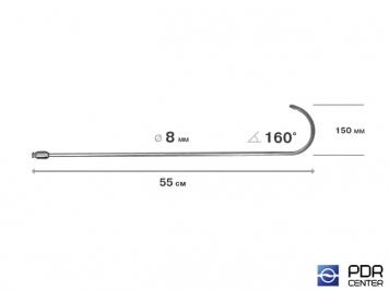 Фото Крюк с большим изгибом, плоский, без ручки (длина 55 см, угол загиба 160º, длина загиба 150 мм, Ø 8 мм)