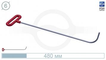 Фото Крючок с загибом 75º, закруглённый, круглый (длина 48 см, угол загиба 75º, длина загиба 65 мм, Ø 6 мм)